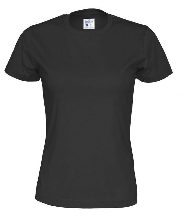 t-paita luomupuuvilla musta naisten malli