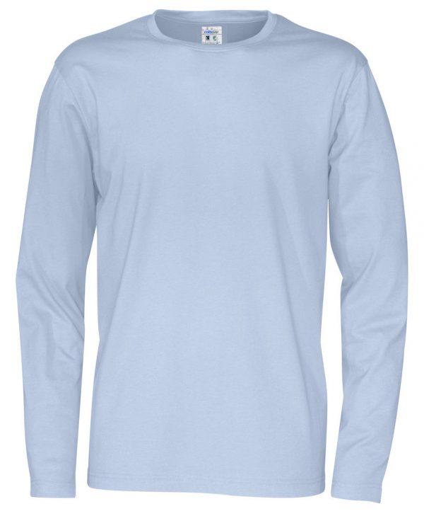 pitkähihainen t-paita luomupuuvillaa vaalean sininen