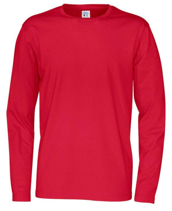 pitkähihainen t-paita luomupuuvillaa punainen