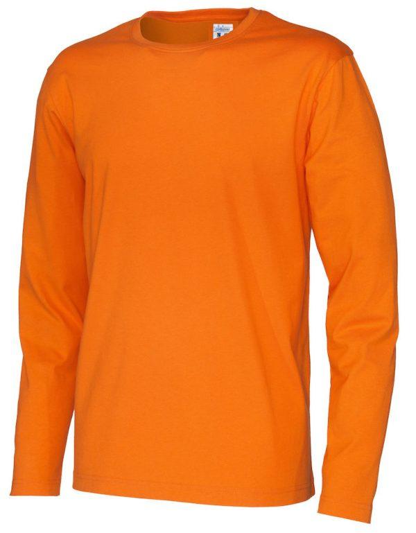 pitkähihainen t-paita luomupuuvillaa oranssi